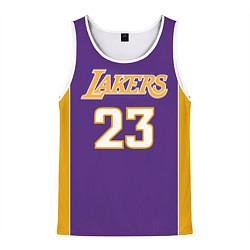 Майка-безрукавка мужская NBA Lakers 23 цвета 3D-белый — фото 1