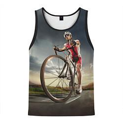 Майка-безрукавка мужская Велогонщик цвета 3D-черный — фото 1