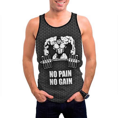Мужская майка без рукавов No pain, no gain / 3D-Черный – фото 3