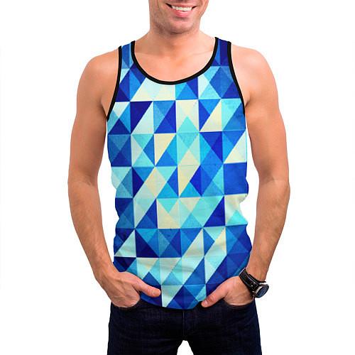 Мужская майка без рукавов Синяя геометрия / 3D-Черный – фото 3