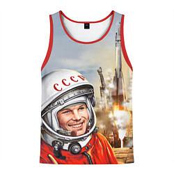 Майка-безрукавка мужская Гагарин взлетает цвета 3D-красный — фото 1