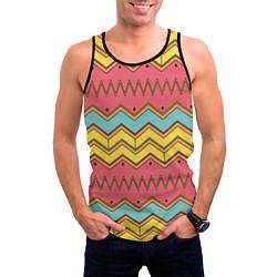Майка-безрукавка мужская Цветные зигзаги цвета 3D-черный — фото 2