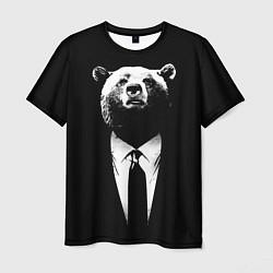 Футболка мужская Медведь бизнесмен цвета 3D — фото 1