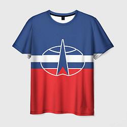 Футболка мужская Флаг космический войск РФ цвета 3D-принт — фото 1