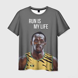 Мужская 3D-футболка с принтом Усэйн Болт, цвет: 3D, артикул: 10133785703301 — фото 1