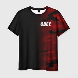 Футболка мужская Obey Military Black Red цвета 3D — фото 1