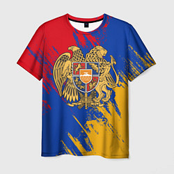 Футболка мужская Герб и флаг Армении цвета 3D — фото 1