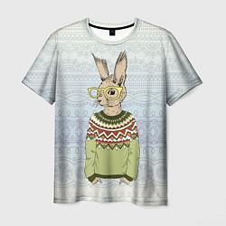 Мужская 3D-футболка с принтом Кролик хипстер, цвет: 3D, артикул: 10139174703301 — фото 1