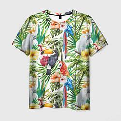 Мужская 3D-футболка с принтом Попугаи в тропиках, цвет: 3D, артикул: 10065274403301 — фото 1