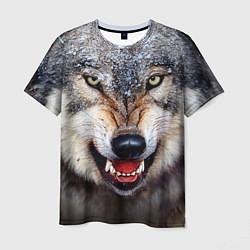 Футболка мужская Взгляд волка цвета 3D-принт — фото 1