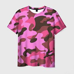 Футболка мужская Камуфляж: розовый/коричневый цвета 3D — фото 1