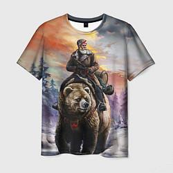 Футболка мужская Красноармеец на медведе цвета 3D — фото 1