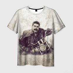 Футболка мужская Сталин байкер цвета 3D — фото 1
