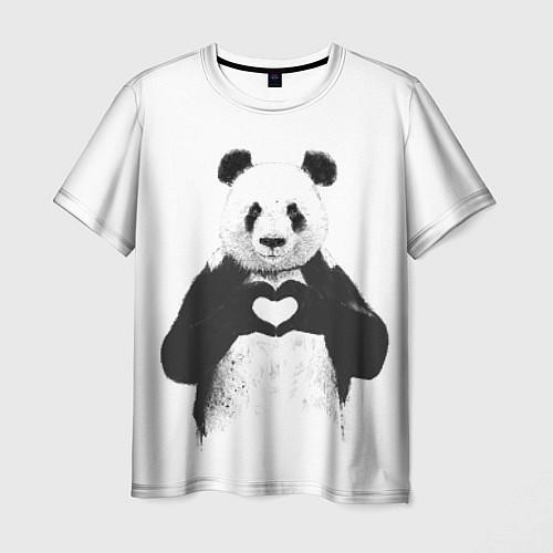 Мужская футболка Panda Love / 3D – фото 1