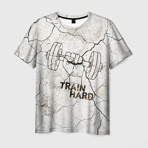 Мужская футболка Train hard / 3D – фото 1
