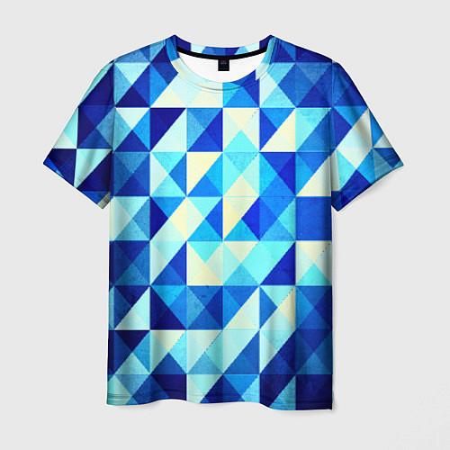 Мужская футболка Синяя геометрия / 3D – фото 1