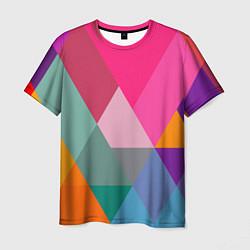 Футболка мужская Разноцветные полигоны цвета 3D — фото 1