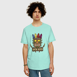 Футболка оверсайз мужская Aku-Aku (Crash Bandicoot) цвета мятный — фото 2