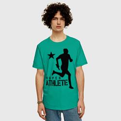 Футболка оверсайз мужская Лёгкая атлетика цвета зеленый — фото 2