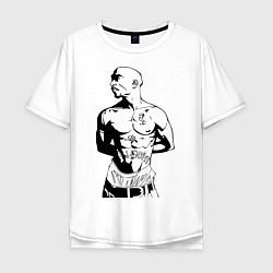 Мужская удлиненная футболка с принтом 2pac, цвет: белый, артикул: 10010672505753 — фото 1