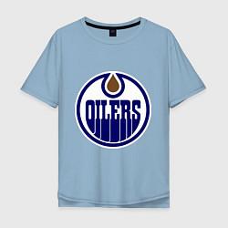 Футболка оверсайз мужская Edmonton Oilers цвета мягкое небо — фото 1