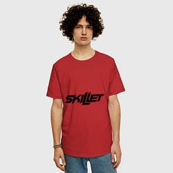 Мужская удлиненная футболка с принтом Skillet, цвет: красный, артикул: 10013055805753 — фото 2