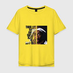 Мужская удлиненная футболка с принтом Tupac: 1971-1996, цвет: желтый, артикул: 10134060105753 — фото 1