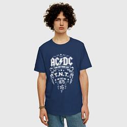Футболка оверсайз мужская AC/DC: Run For Your Life цвета тёмно-синий — фото 2