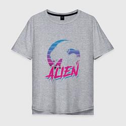 Мужская удлиненная футболка с принтом Alien: Retro Style, цвет: меланж, артикул: 10151585705753 — фото 1