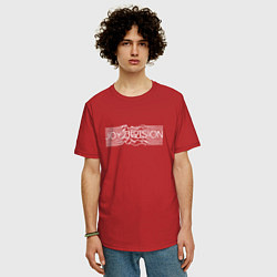 Футболка оверсайз мужская Joy Division цвета красный — фото 2