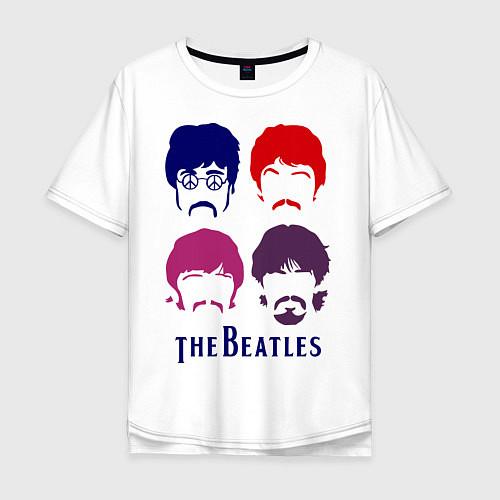 Мужская футболка оверсайз The Beatles faces / Белый – фото 1