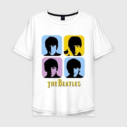 Мужская футболка оверсайз The Beatles: pop-art / Белый – фото 1