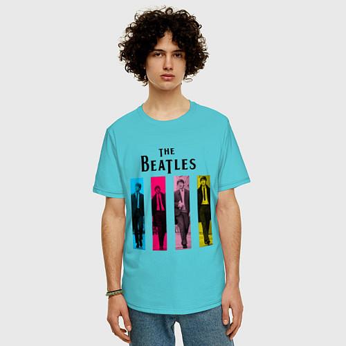 Мужская футболка оверсайз Walking Beatles / Бирюзовый – фото 3