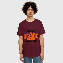 Футболка оверсайз мужская AC/DC: High Voltage цвета меланж-бордовый — фото 2