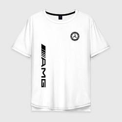 Мужская удлиненная футболка с принтом MERCEDES-BENZ AMG, цвет: белый, артикул: 10173877105753 — фото 1