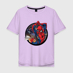Футболка оверсайз мужская Flying Spider-man цвета лаванда — фото 1