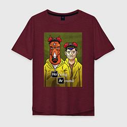 Футболка оверсайз мужская BoJack Horseman цвета меланж-бордовый — фото 1