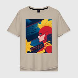 Футболка оверсайз мужская Капитан Марвел Мстители цвета миндальный — фото 1