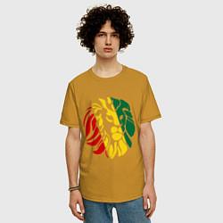 Футболка оверсайз мужская Раста лев цвета горчичный — фото 2