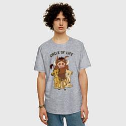 Мужская удлиненная футболка с принтом Круг жизни, цвет: меланж, артикул: 10266206305753 — фото 2