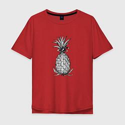 Мужская удлиненная футболка с принтом Ананас Моргенштерна, цвет: красный, артикул: 10271440705753 — фото 1