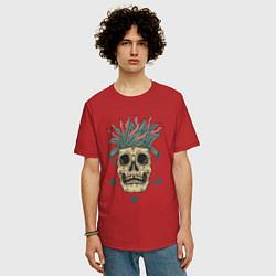 Мужская удлиненная футболка с принтом Череп Моргенштерна, цвет: красный, артикул: 10274274305753 — фото 2