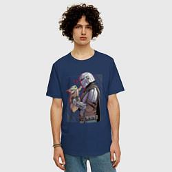 Футболка оверсайз мужская Мандалорец и Дитя цвета тёмно-синий — фото 2