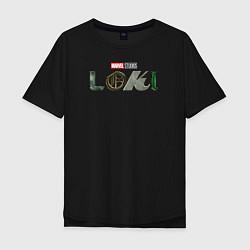 Футболка оверсайз мужская Локи Marvel белый лого цвета черный — фото 1