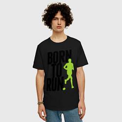 Мужская удлиненная футболка с принтом Рожден для бега, цвет: черный, артикул: 10045407605753 — фото 2