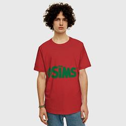 Футболка оверсайз мужская Sims цвета красный — фото 2