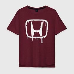 Мужская удлиненная футболка с принтом Honda, цвет: меланж-бордовый, артикул: 10066250605753 — фото 1