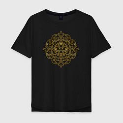 Футболка оверсайз мужская Золотой цветок цвета черный — фото 1