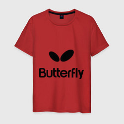 Футболка хлопковая мужская Butterfly Logo цвета красный — фото 1