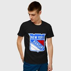 Футболка хлопковая мужская New York Rangers цвета черный — фото 2